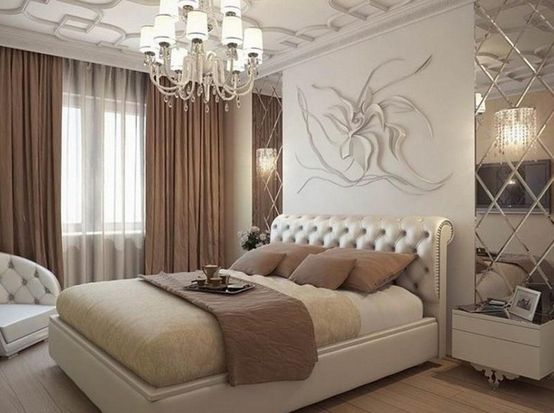 Зеркальная плитка в спальне дизайн
