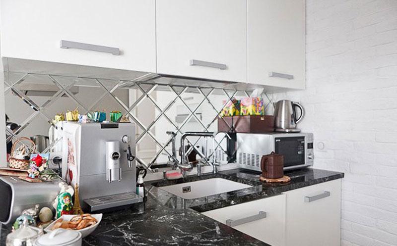 Зеркальный дизайн кухни